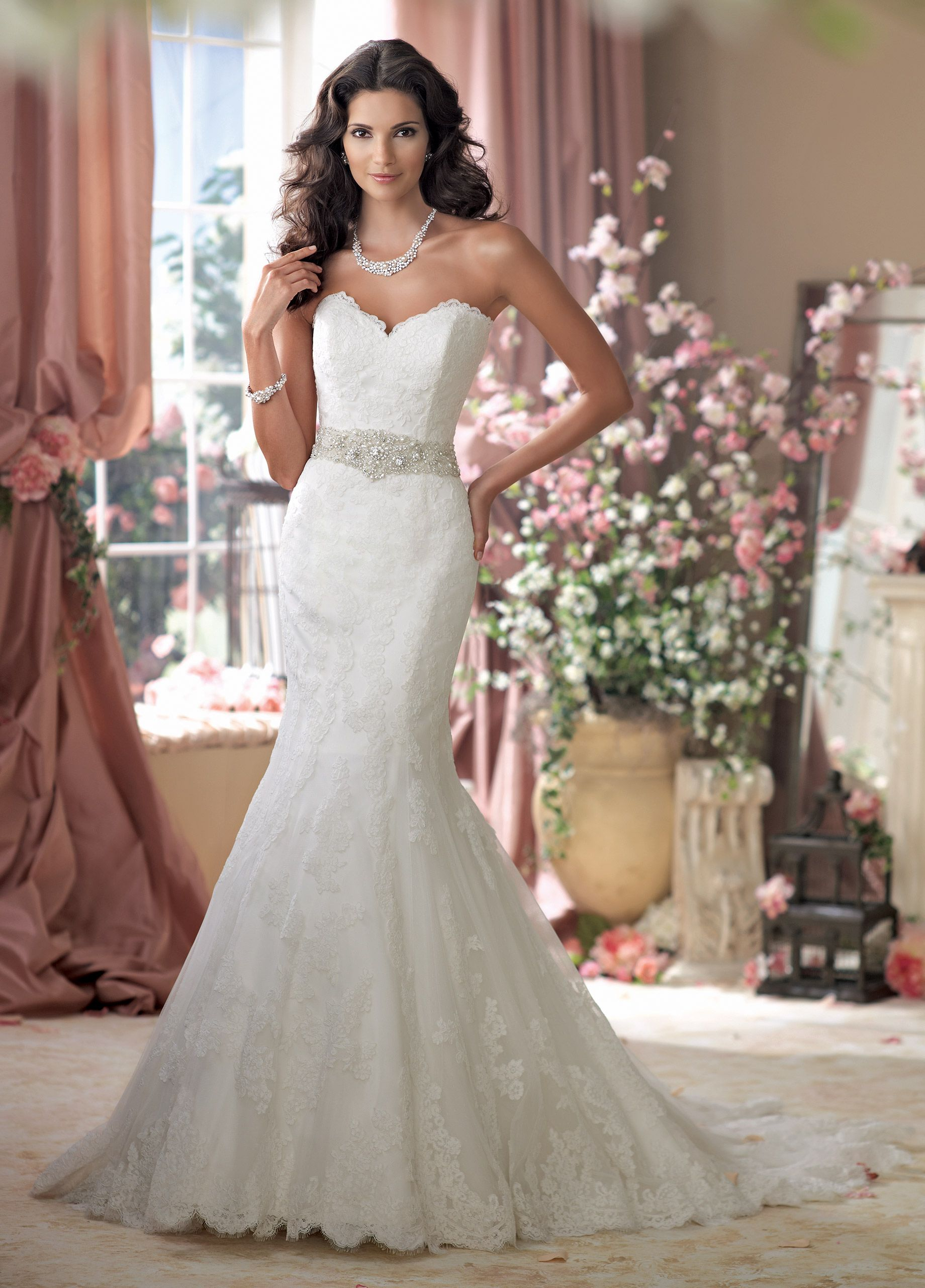 Pearl belt for wedding dress  Lace Mermaid With Beaded Belt Wedding Dress  MacClare