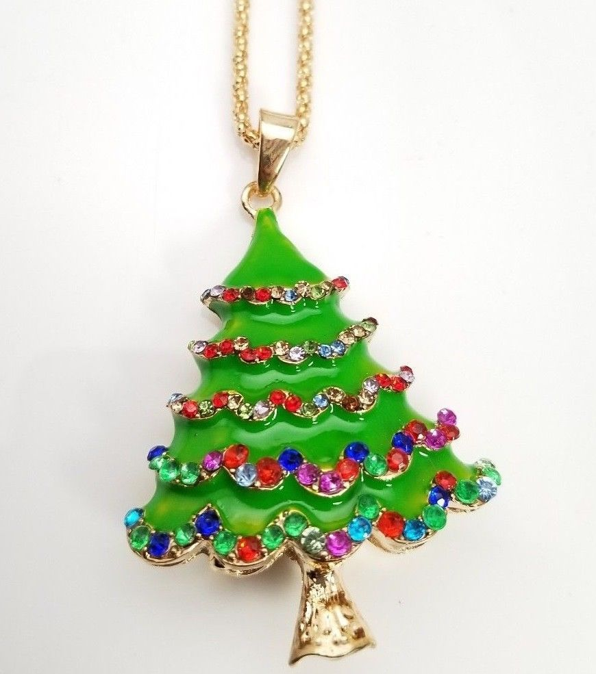 Gold Plated Christmas Tree Pendant Sweater Necklace Green Multi ...