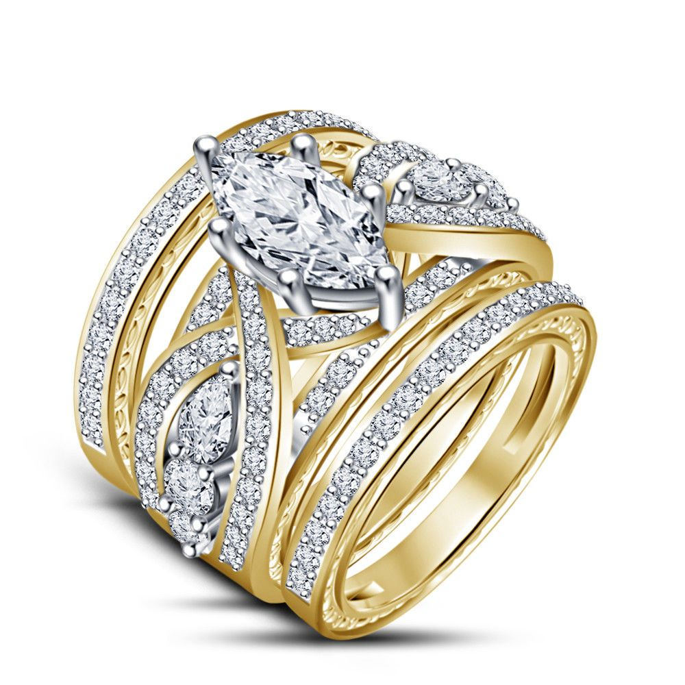 Yellow Gold Over 3.45 Ct Marquise Diamond Engagement