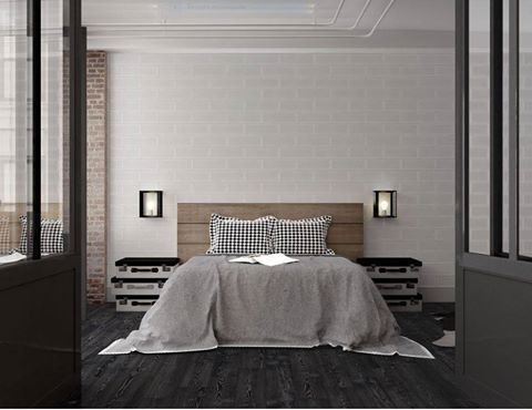 Did you know the atmosphere where you wake up can determine your mood during the day?  For bedrooms choose a neutral, comfortable and simply style.  Wall tiles ☛ Brick White  Floor tiles ☛ Lumber Black