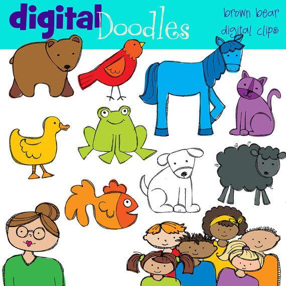Kpm Bear And Friends Digital Clip Art Brown Bear Digital Clip