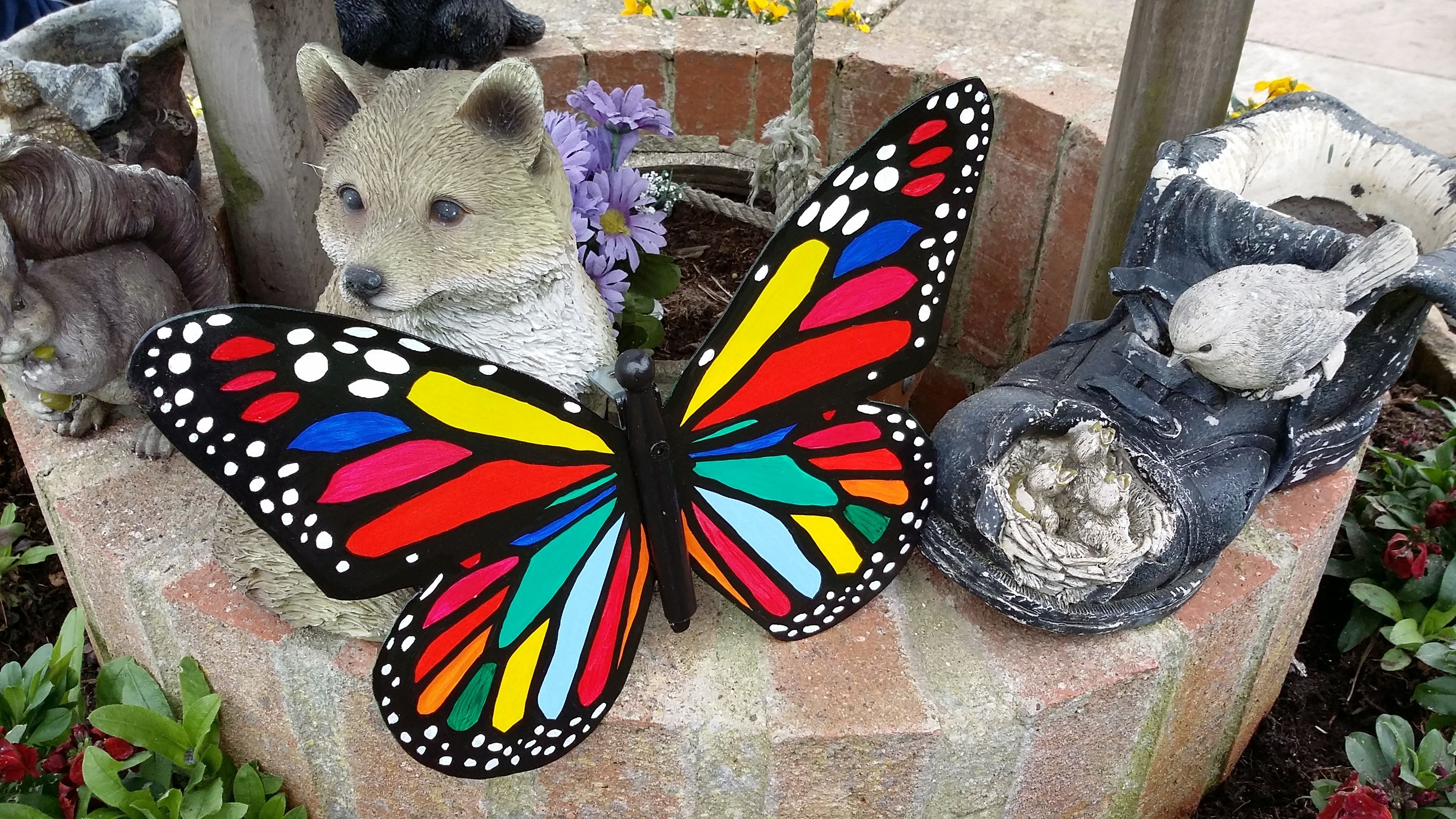 Hand painted colourful butterfly metal garden art patio butterfly