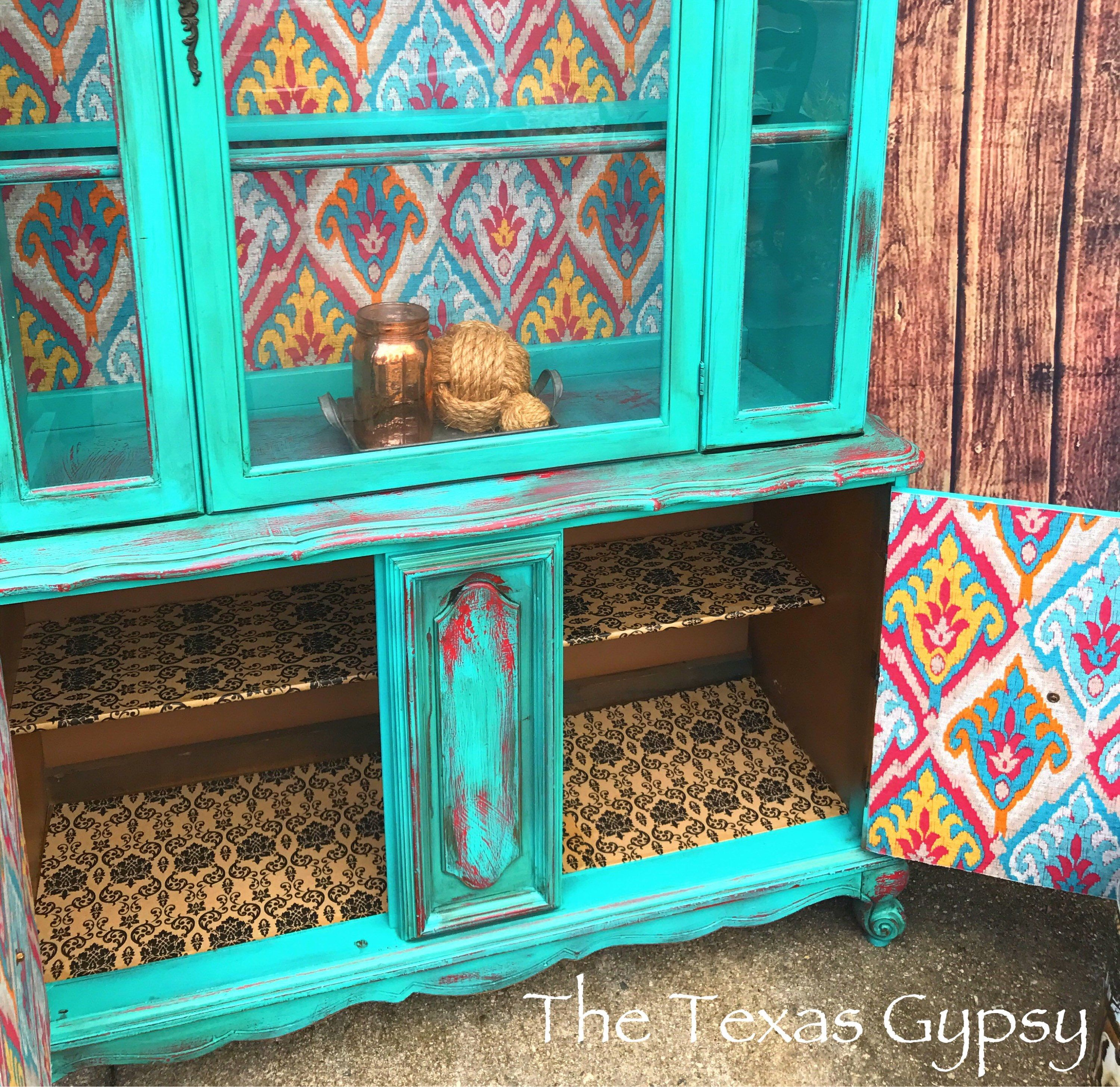 Boho French Provincial China Cabinet Hutch Rustic Teal Boho Gypsy Chic Distressed Turquoise Red