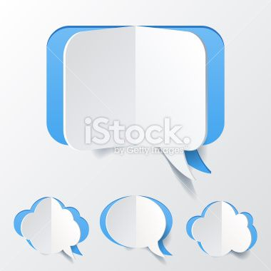 Abstract Blue Speech Bubble Set Cut of Paper Royalty Free Stock Vector Art Illustration