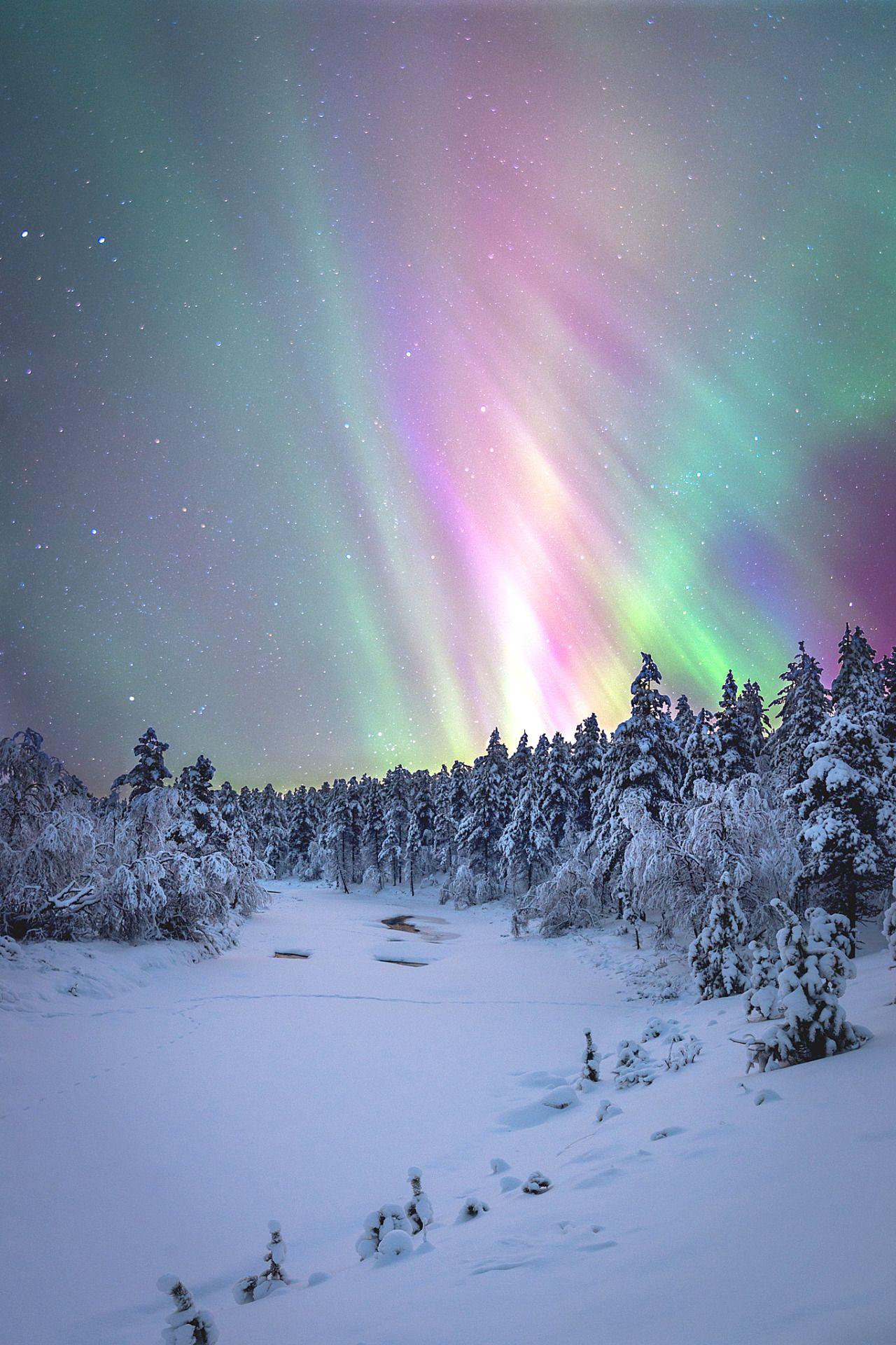 Northern Lights, Winter Landscape, Scenery