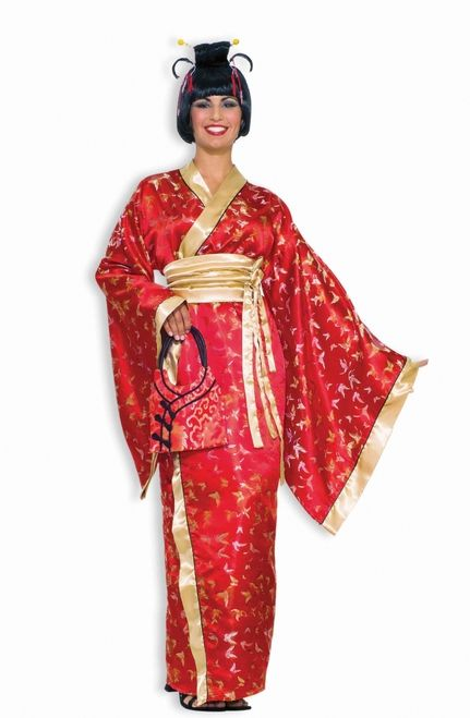 3a207e4e681 Madame Butterfly Ladies Asian Kimono - A great costume idea for an ethnic  or Asian themed Halloween party. This red and gold 2 piece Asian style dress  with ...