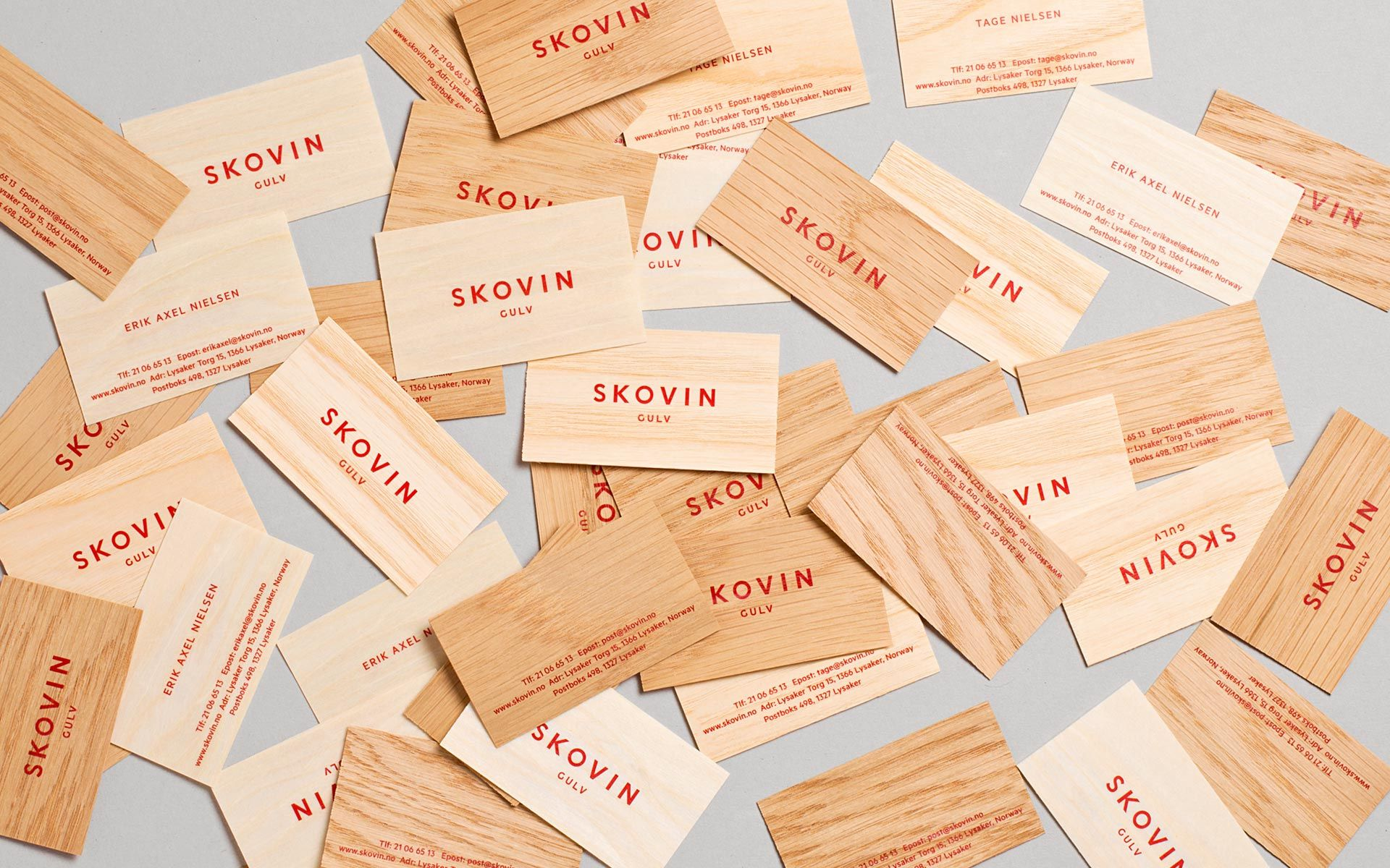 Skovin gulv wood veneer business cards designed by heydays love the skovin gulv wood veneer business cards designed by heydays love the wood so different from the usual reheart Images