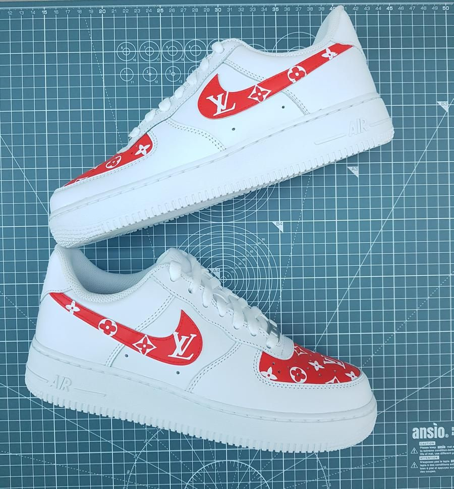 Nike Air Force 1's Louis Vuitton (Red) in 2020 Nike