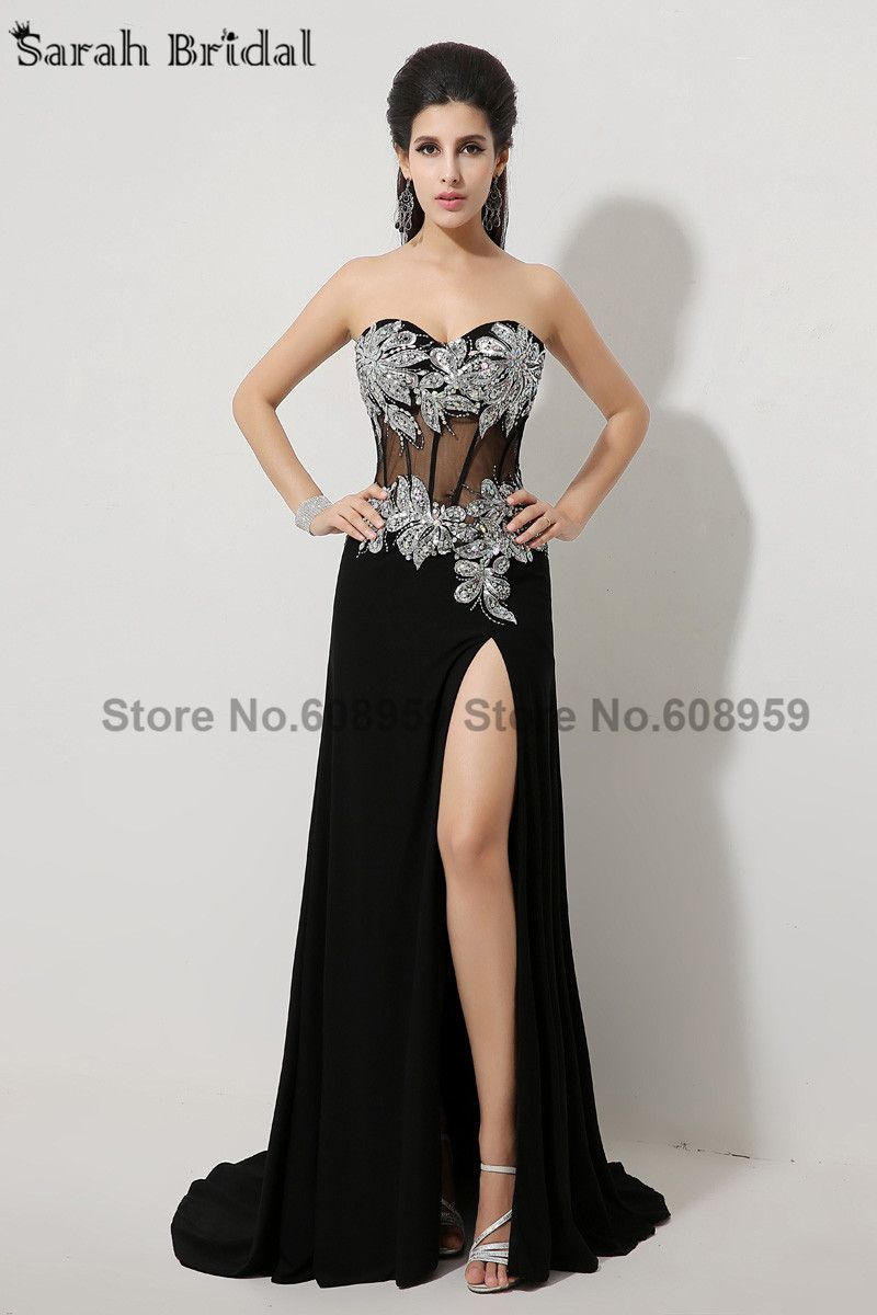 In stock fashionable sexy black sequined mermaid long prom dresses