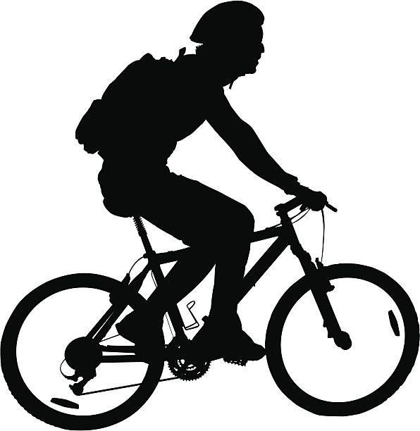 Man Riding Mountain Bike Vector Art Illustration Sepeda Gunung