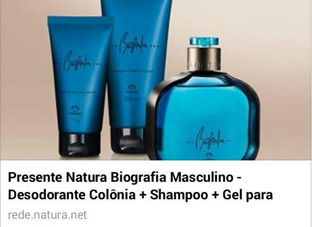 AQUI TEM PRESENTE  Prático porque traz tudo que o homem precisa em um kit só. Cabelos cuidados, perfumação e praticidade para o homem por R$ 92,00. #natura #biografia #naturabiografia #fragrancia #perfume #shampoo #gel #presente rede.natura.net/espaco/spacofabi/presente-natura-biografia-masculino-desodorante-colonia-shampoo-gel-para-cabelos-embalagem-pid49070