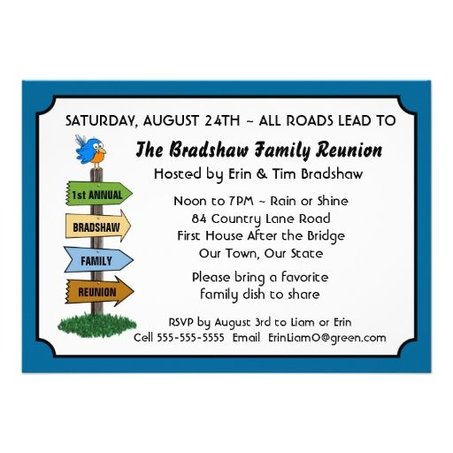 Funny Bluebird Family Reunion Invitation Custom Announcement