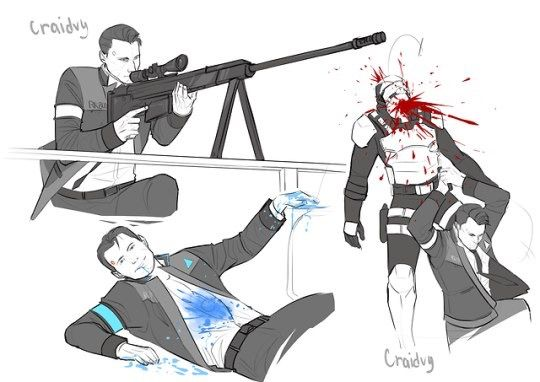 detroit become human connor sketches detroit become human
