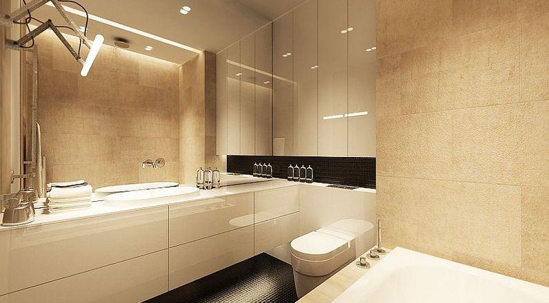 Modern White Cream Bathroom Design Natural Stone Wall