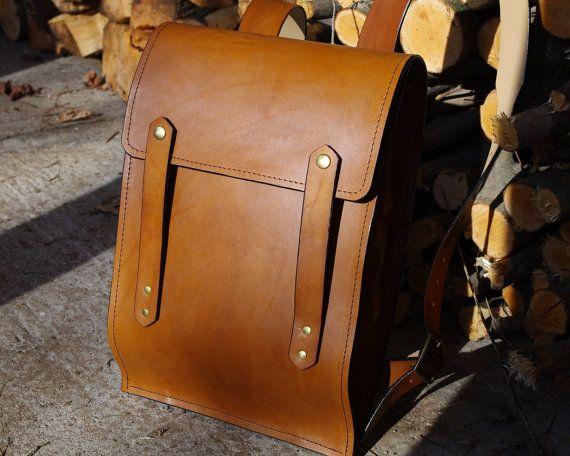 Leather Backpack - Large Rucksack Style - Hard Leather - Light ...