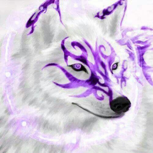 white wolf with purple tatoo and fire eyes friend black