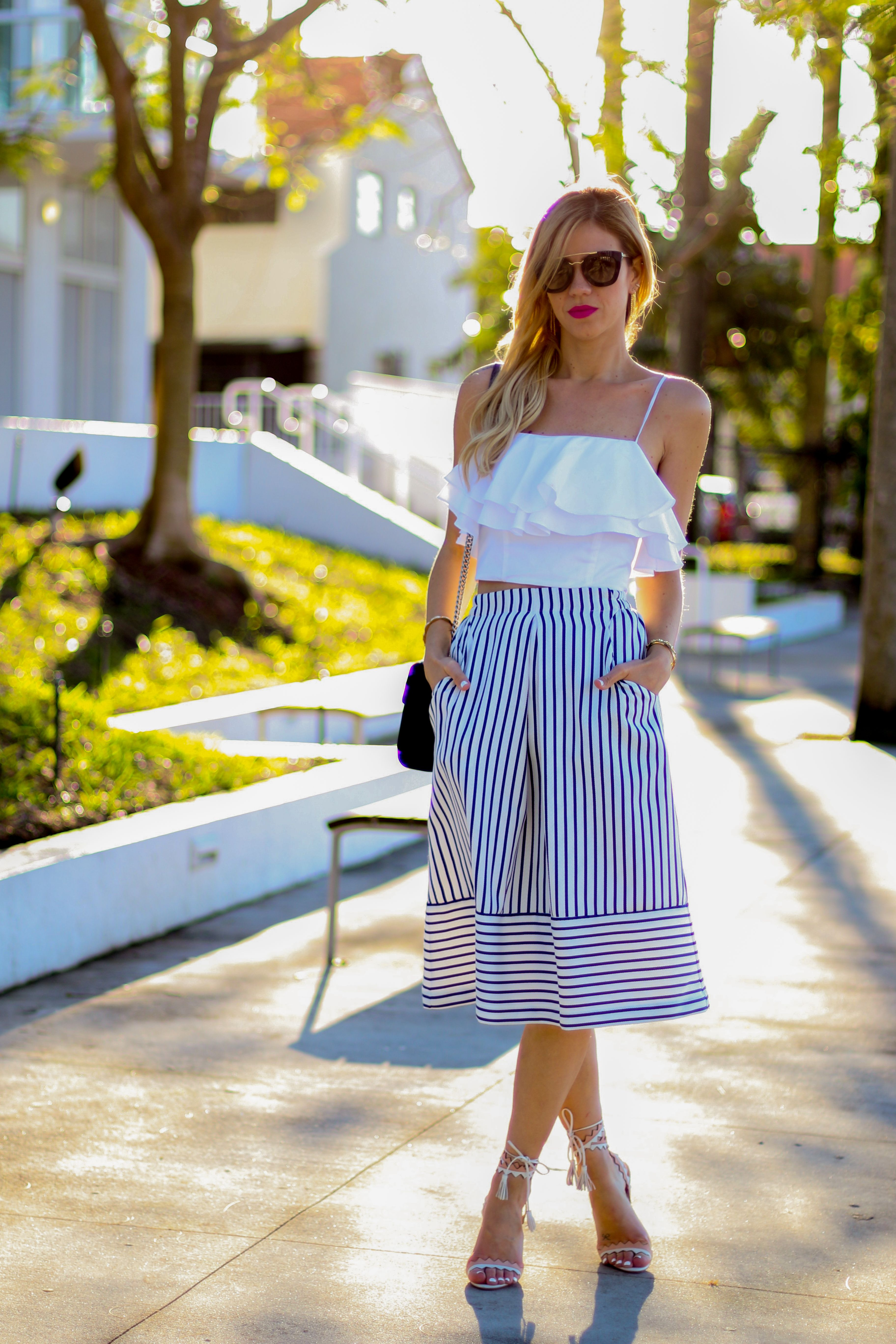 { Stripes and Ruffles } White and Blue Striped Skirt with ...
