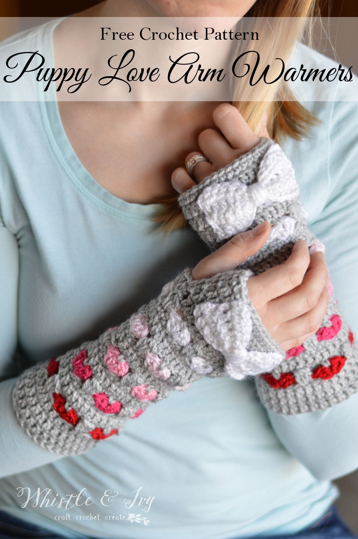 Puppy love arm warmers crochet arm warmers arm warmers and free crochet pattern puppy love arm warmers these beautiful and cozy crochet arm warmers bankloansurffo Choice Image