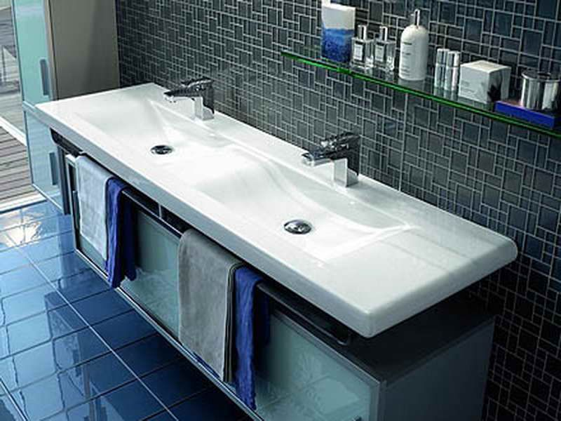 Laufen Sinks for Every Modern Bathroom with grey towells