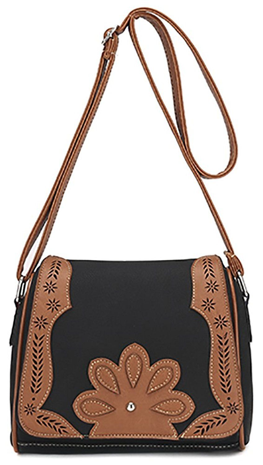 Women s PU Hollow Shoulder Bag Hobo Crossbody Bag Front Belt Messenger Bag b8d83830d378a