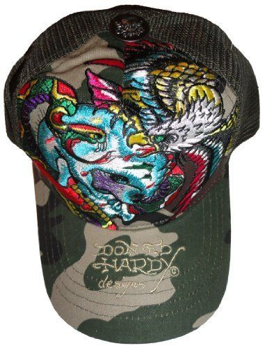73ed7928 Men's Ed Hardy Hat Baseball Cap Skull and Snake Trucker Hat Chocolate/Camo  Ed Hardy