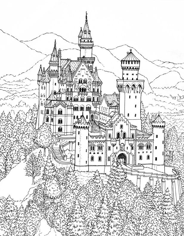 Coloring Pages Of Schloss Neuschwanstein Bavaria Germany For Adults And Kids Who Like To Color Castles Architectural Scenes