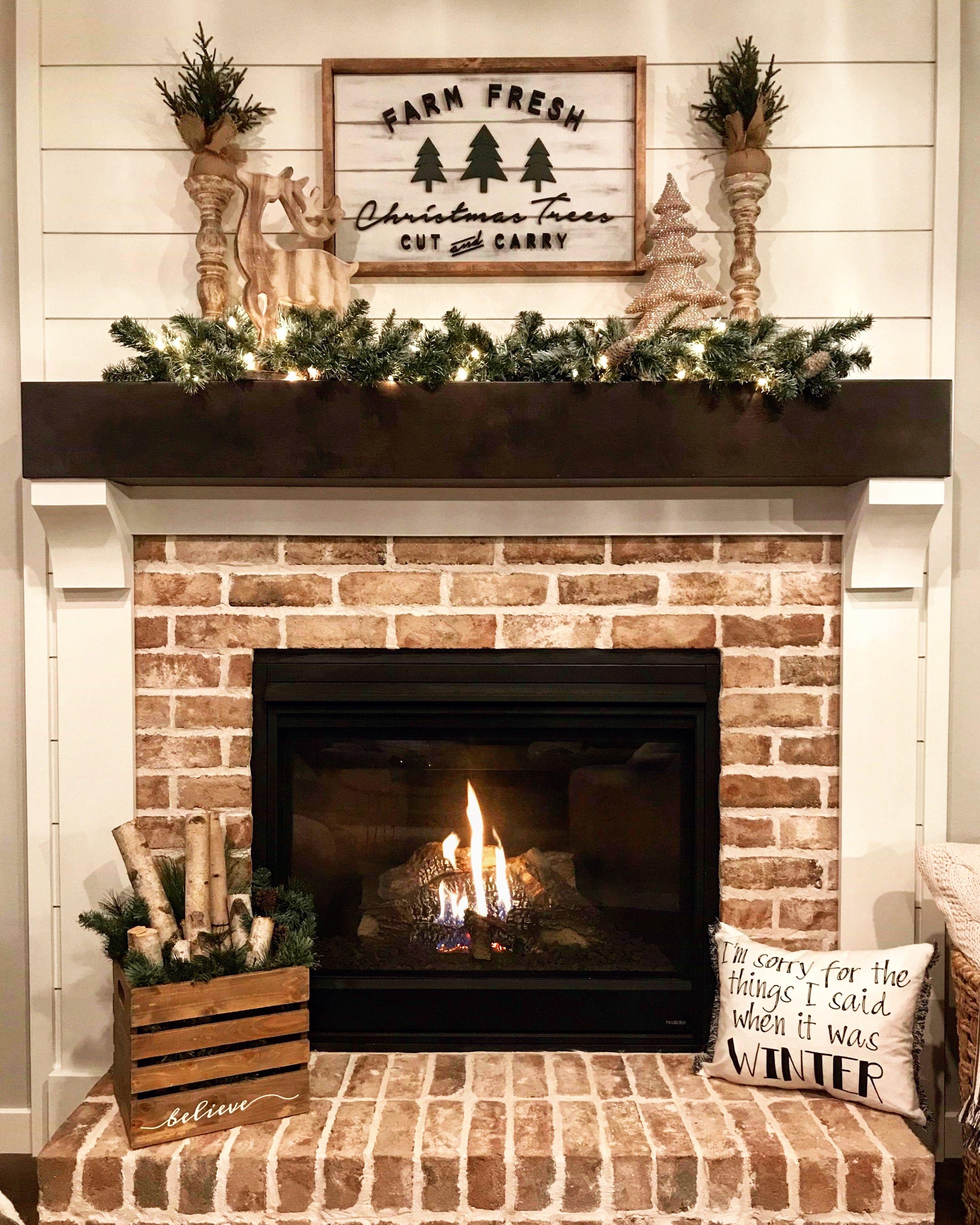 farmhouse brick fireplace ideas