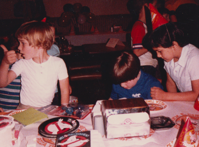My Ghostbusters-themed birthday party at Chuck E Cheese -- is there anything more 80s than that?
