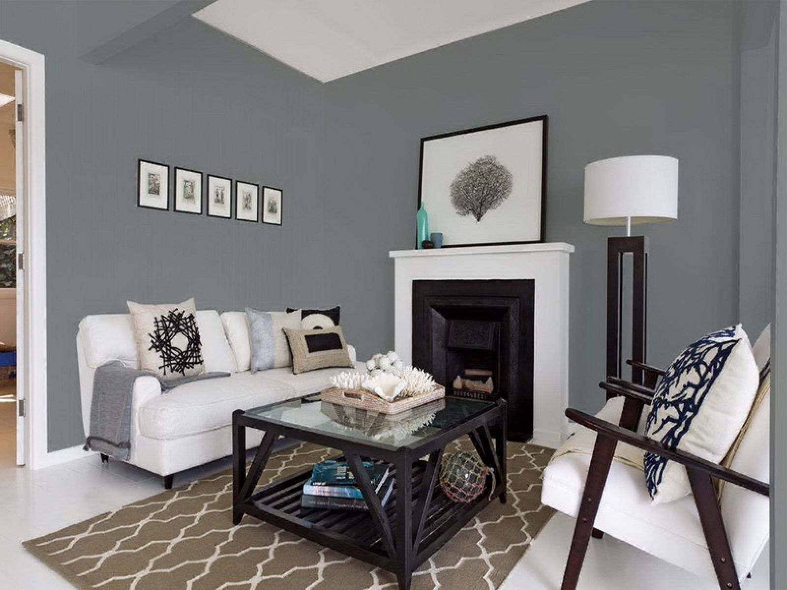 Pin Dark Grey Wall Color Scheme And Blue Bedding Sets In Small Living Room Grey Walls Living Room Living Room Color Living Room Wall Color