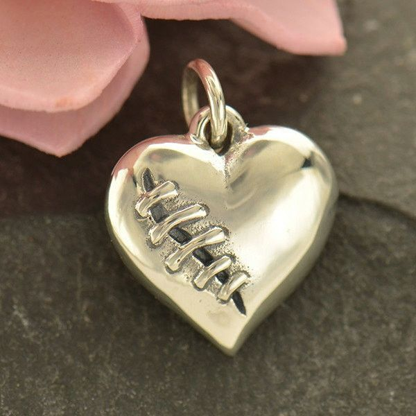Sterling Silver Mended Heart Charm Nina Designs Heart Jewelry