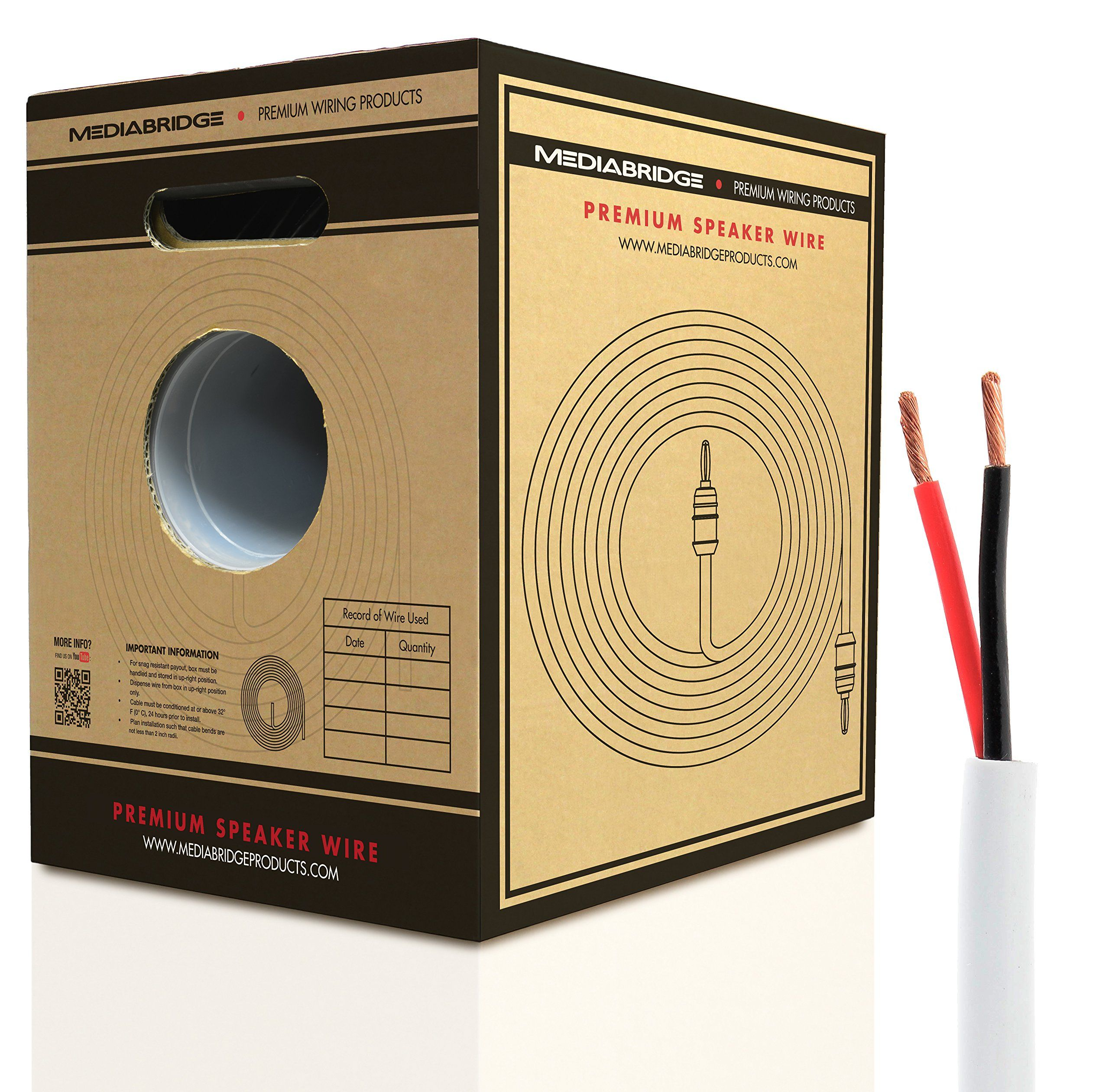 Mediabridge 16awg Speaker Wire W Pull Out Box 500 Ft White Wiring Up Speakers 999 Oxygen Free Copper Cl2 For In Wall Sw 16x2 Wh