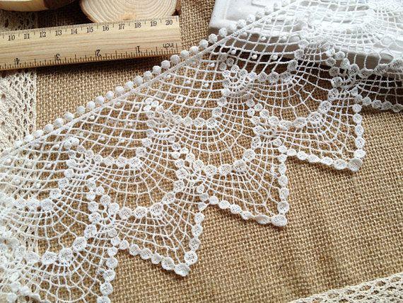 Cotton Lace Trim Vintage Crochet Lace White Hollowed Out Lace Trim ...