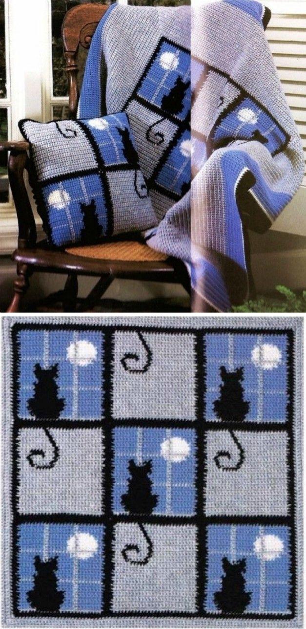 Crochet Cat Pattern Blanket Ideas | Crochet | Pinterest | Manta ...