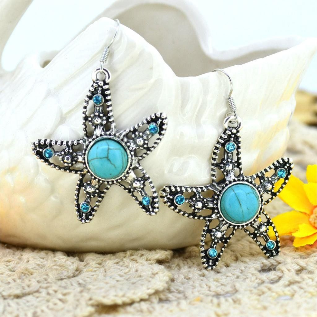 Boho Vintage Silver Plated Crystal and Turquoise Earrings - 13 designs to choose…