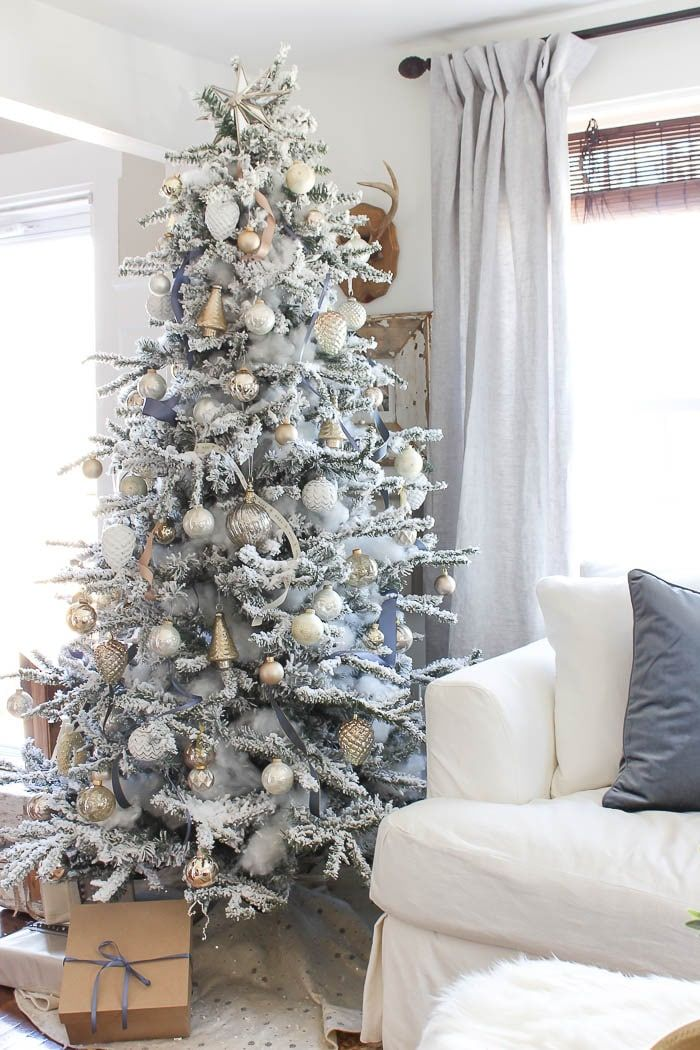 The Prettiest Flocked Christmas Trees   The Turquoise Home ...