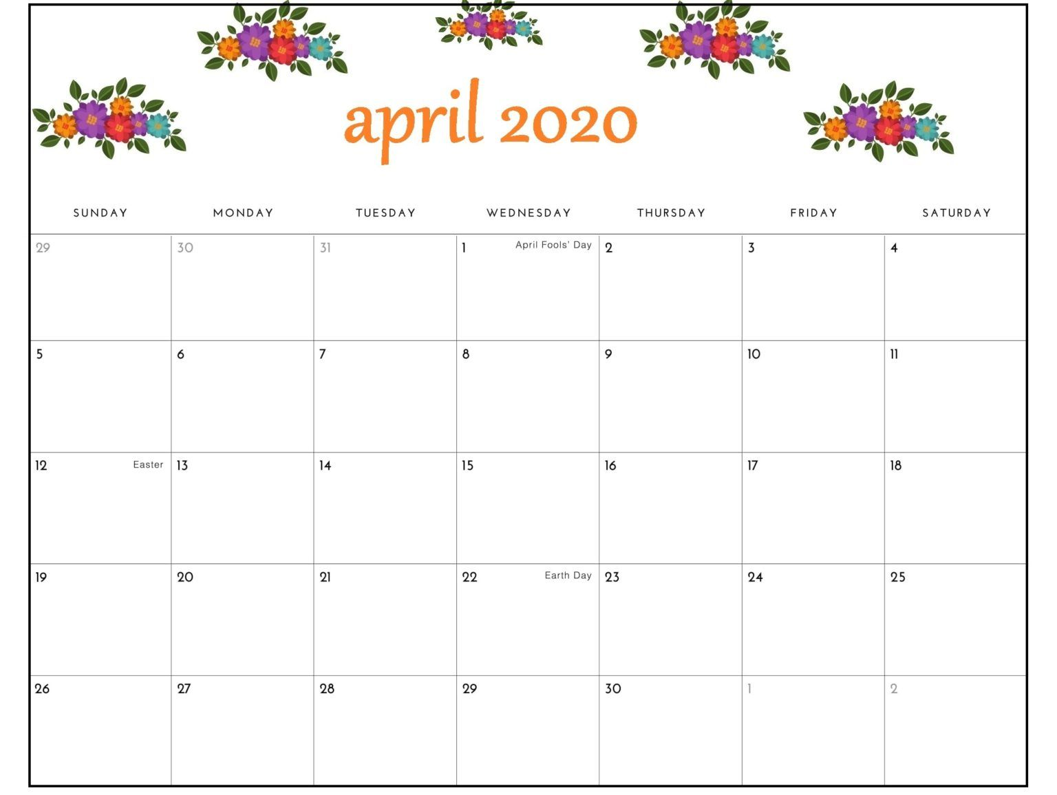 Free April 2020 Calendar Pdf Word Excel Template Calendar