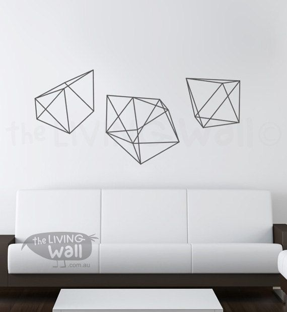 Diamonds Wall Decals Geometric Shapes Home Decor Removable Vinyl ...