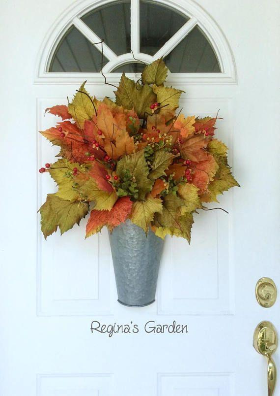 Fall Wreath Farmhouse Decor Galvanized Wall Basket Door