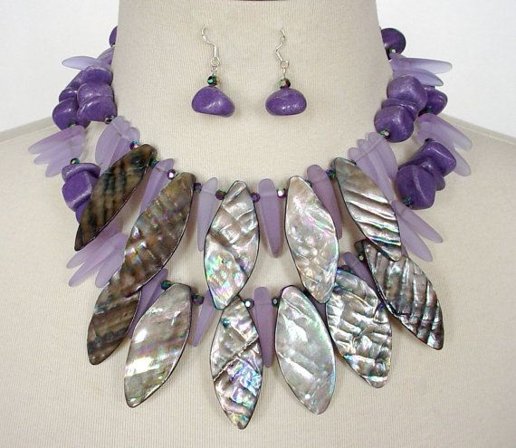 Purple Statement Necklace, Mother Of Pearl Dagger Necklace, Chunky Bib Necklace, Plum, Lavender