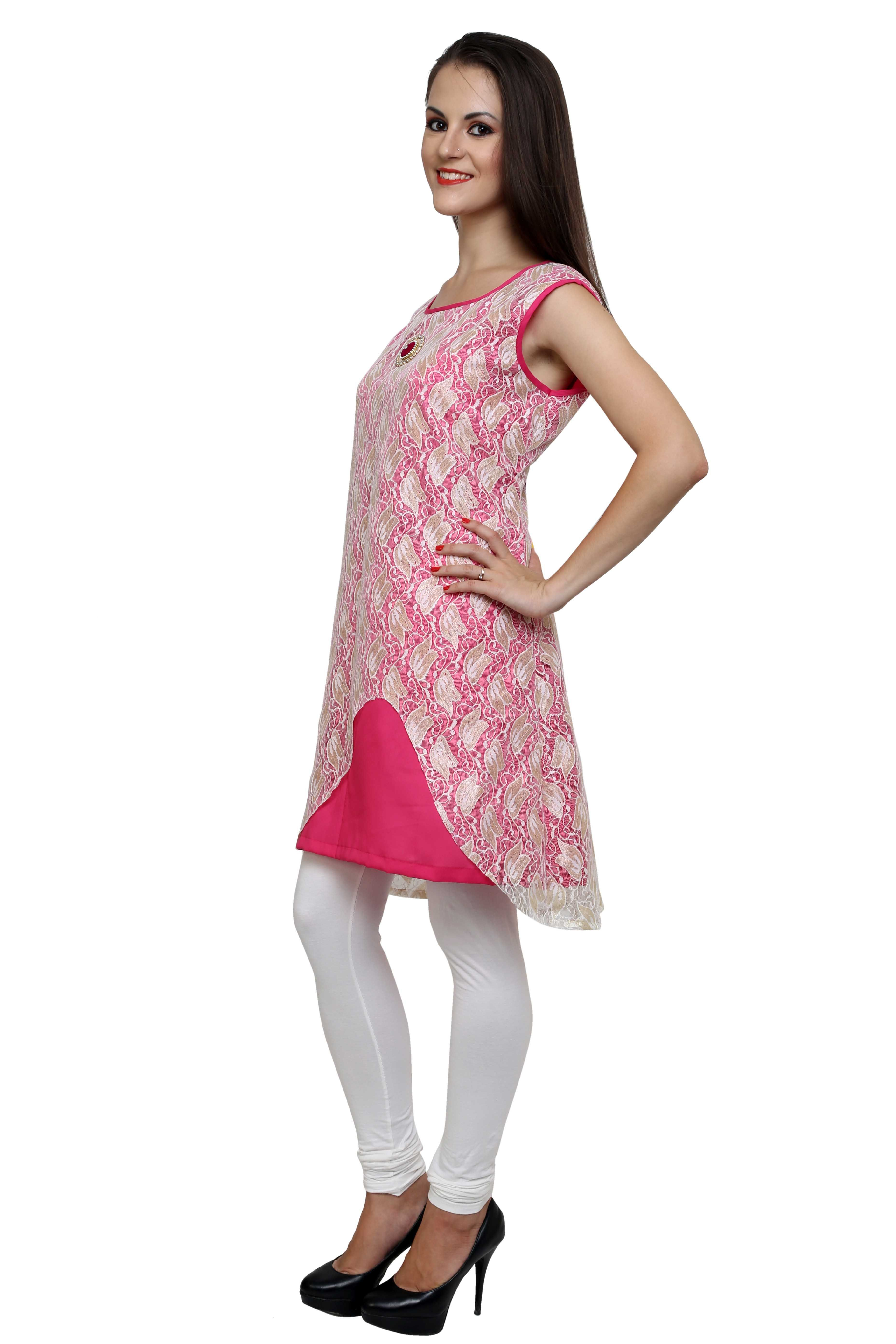 Chantilly lace kurti in hot pink!
