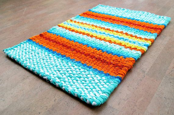 Turquoise Orange Yellow Red Twined Hand by KrasneytheRugMaker