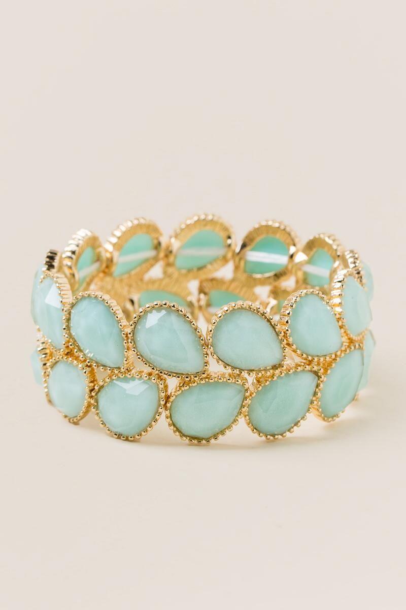 Adeline Stretch Bracelet in Mint-Mint