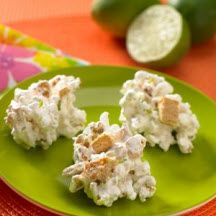 Key Lime Popcorn Clusters - These sweet and zesty key lime-flavored marshmallow popcorn clusters are sure to be a hit. #flavoredmarshmallows
