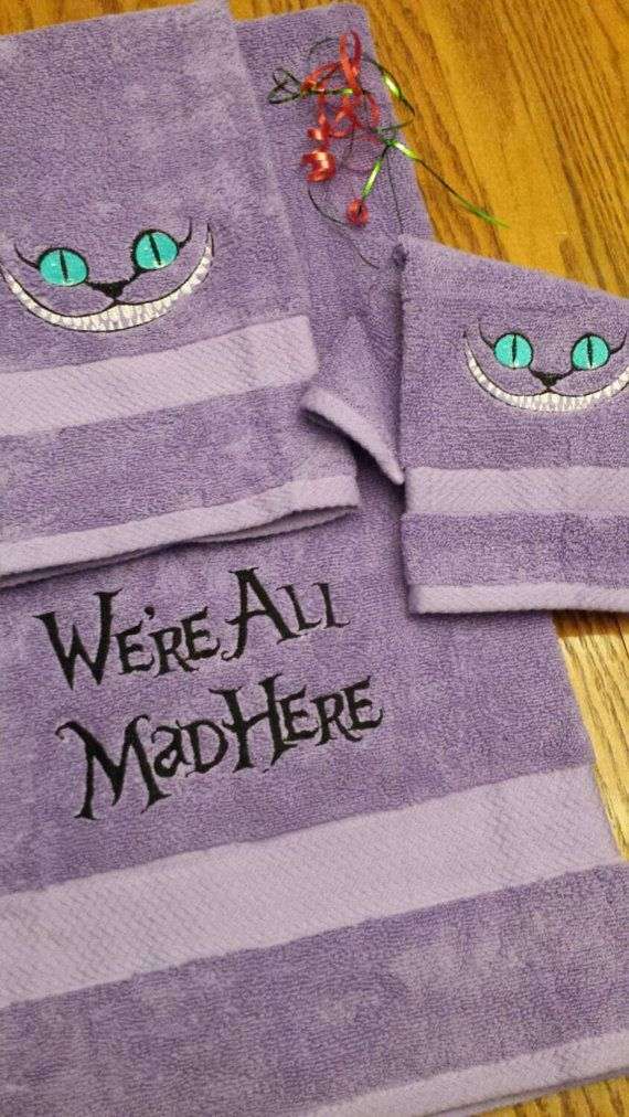 Hey, I found this really awesome Etsy listing at https://www.etsy.com/listing/256207828/cheshire-cat-towel-set-bath-3pc-set-were