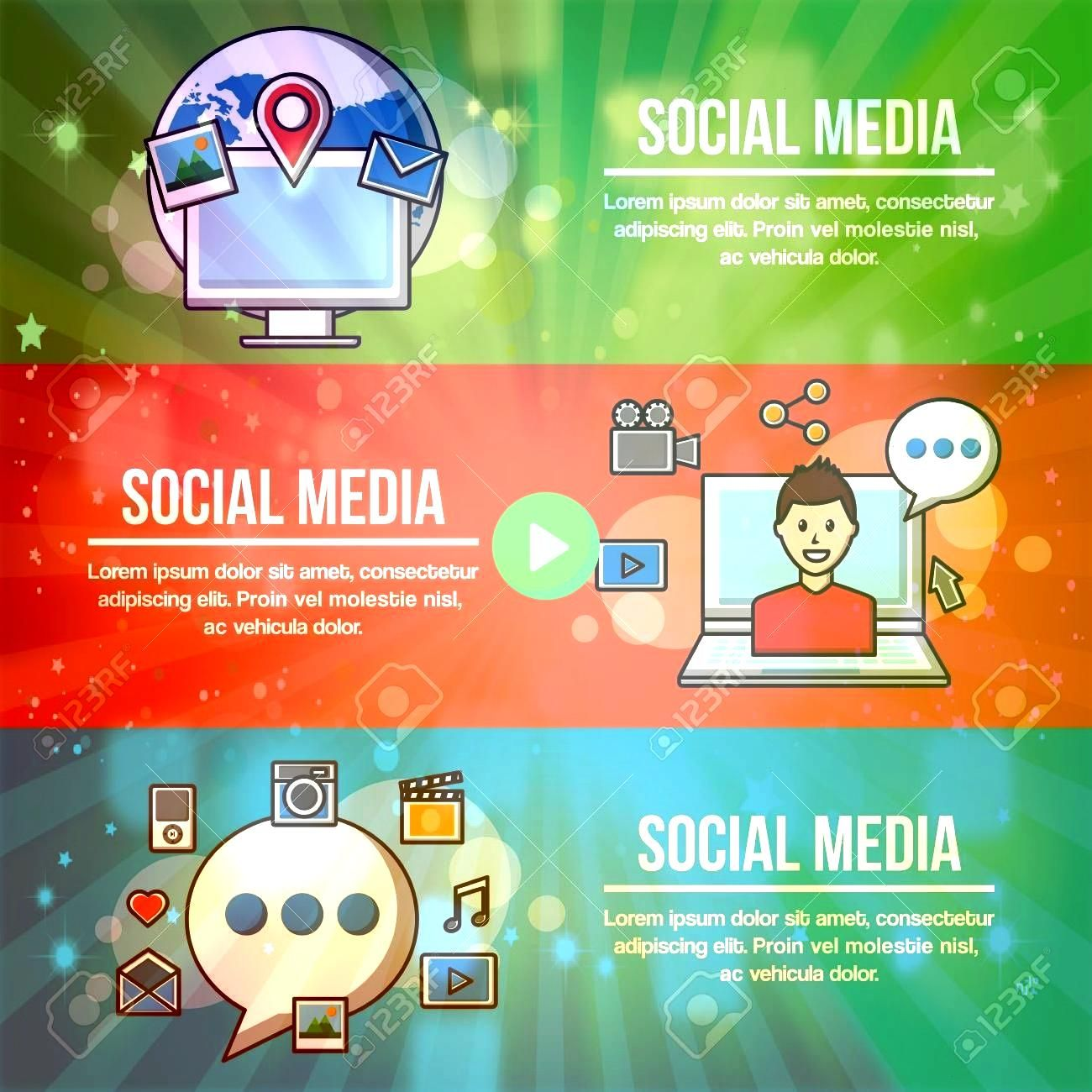 social media networks banners with signs explain information profile location photos vector illustration Illustration People social media networks banners with signs expl...