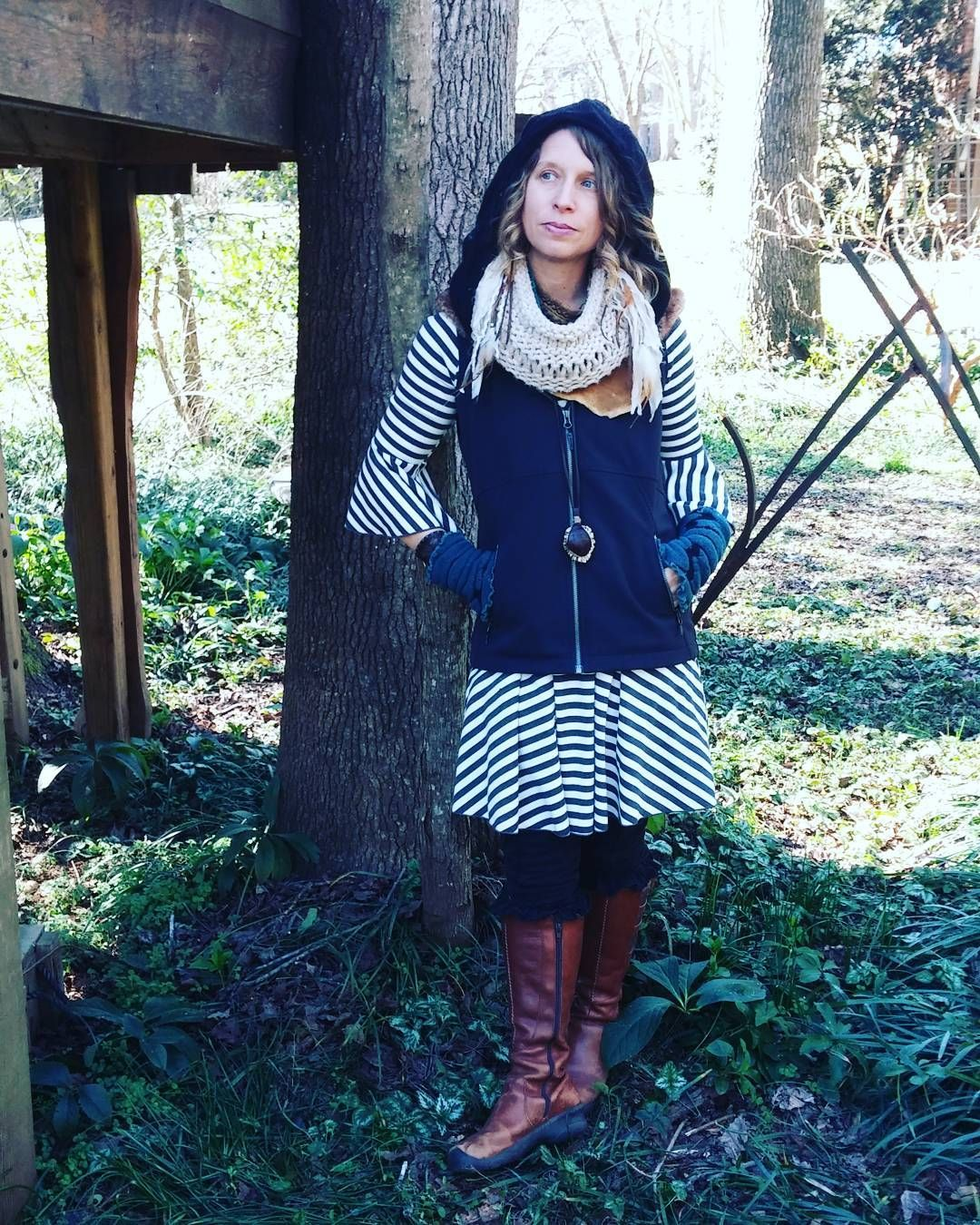 Saturday Stripes.  Let the beauty you love be what you do, there are hundreds of ways to kneel and kiss the ground. - Rumi in song form #adornyoursoul #forestfashion #walkingaltar #sacredsong #myathensfashion