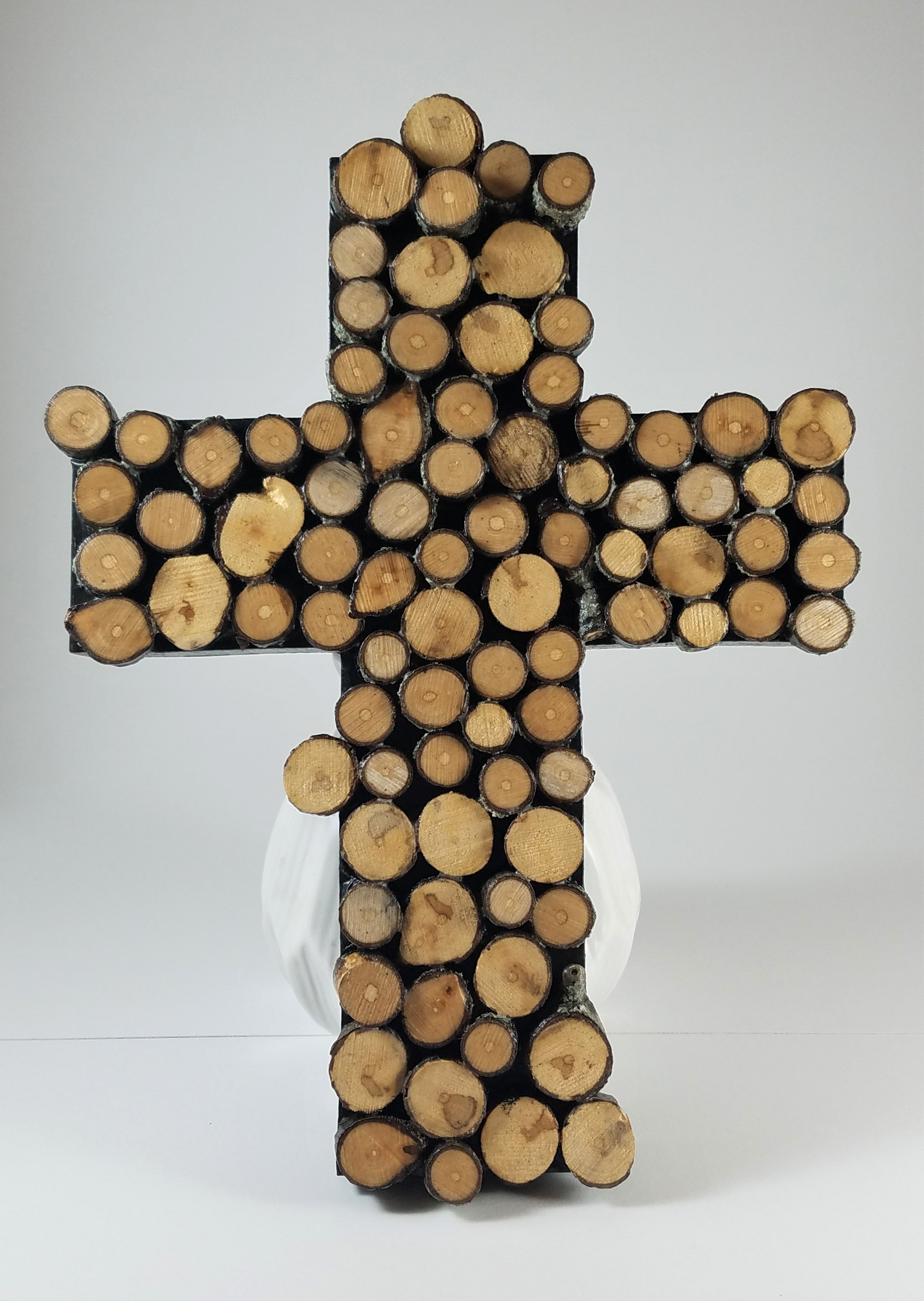 Slice of vermont maple wood slice cross wall decor