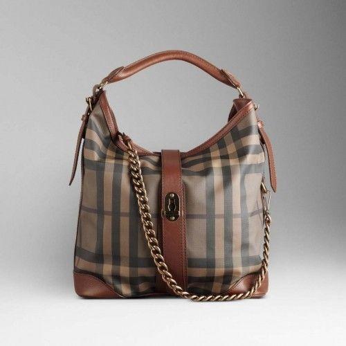Burberry Medium Smoked Check Chain Hobo Bag Dark Tan design with ...