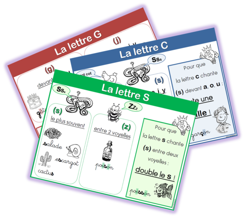 Affiches Valeur Des Lettres S C Et G Chez Lutin Bazar