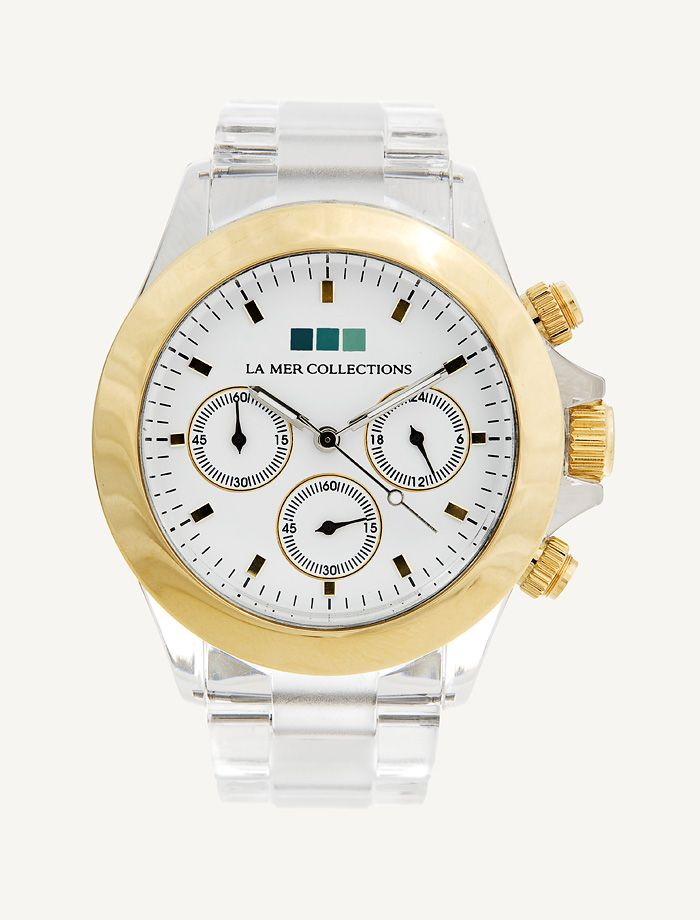 Gold Bezel - White Dial Clear Band